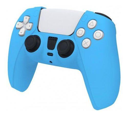 Голубой Силиконовый чехол для джойстика PS5 PlayStation 5