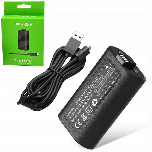 Аккумулятор на 1400 мАч черный для Xbox One и кабель для зарядки длиной 2,75 м
