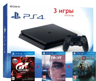 PlayStation 4 Slim + 3 игры