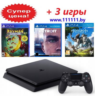 PlayStation 4 Slim (PS4) + 3 игры