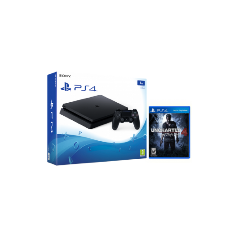 Sony Playstation 4 Slim 1Tb Black Игровая консоль + UNCHARTED 4: A THIEF'S END (PS4)